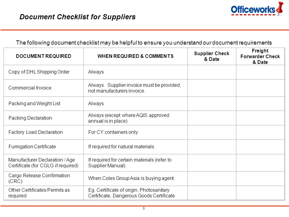8 Document Checklist for Suppliers The following document checklist may be helpful to ensure you understand our document requirements DOCUMENT REQUIRE