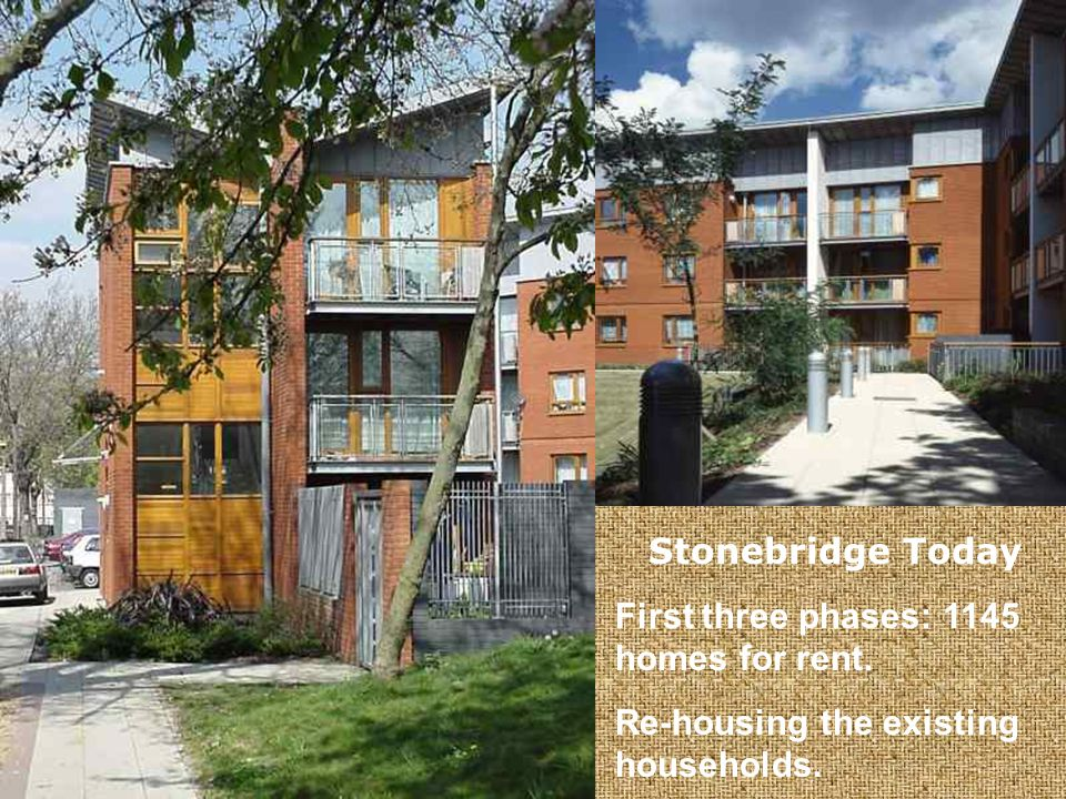 Stonebridge Today First three phases: 1145 homes for rent. Re-housing the existing households.