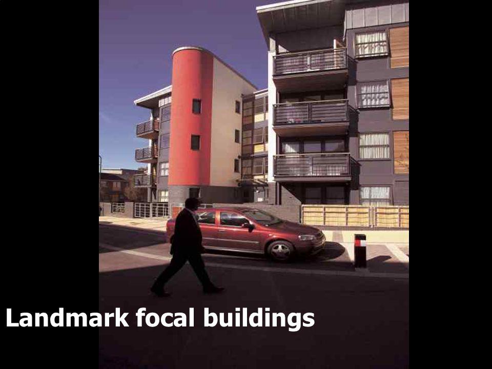 Landmark focal buildings