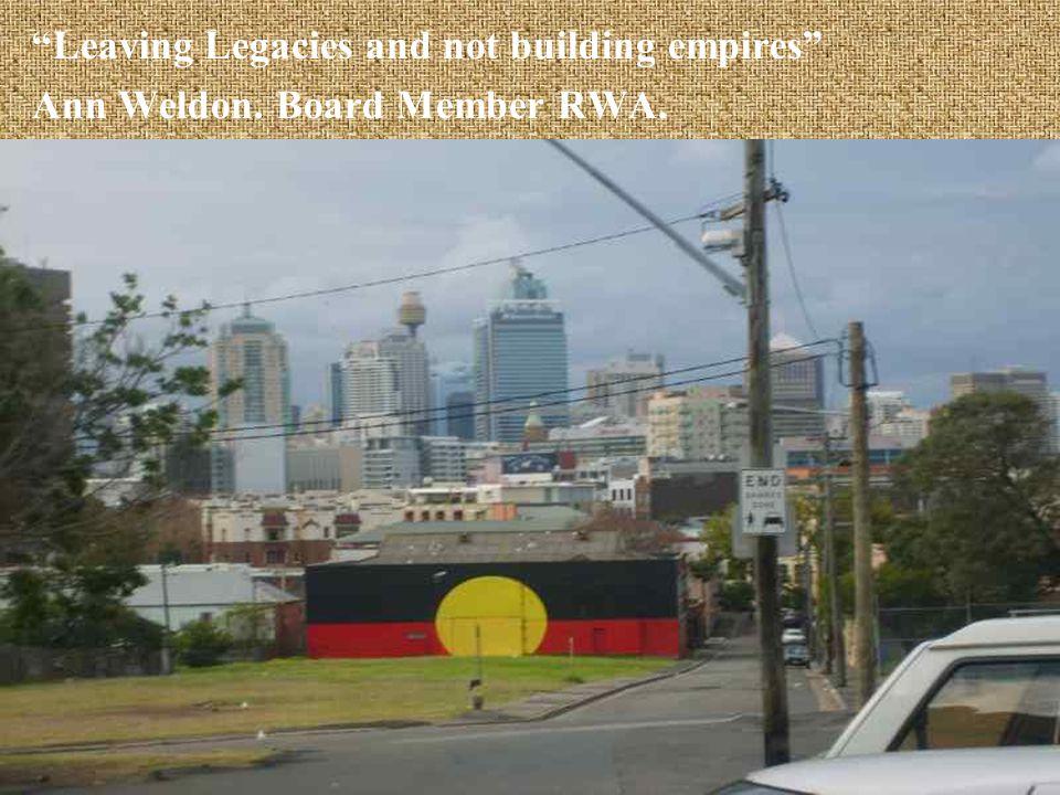 Leaving Legacies and not building empires Ann Weldon. Board Member RWA.