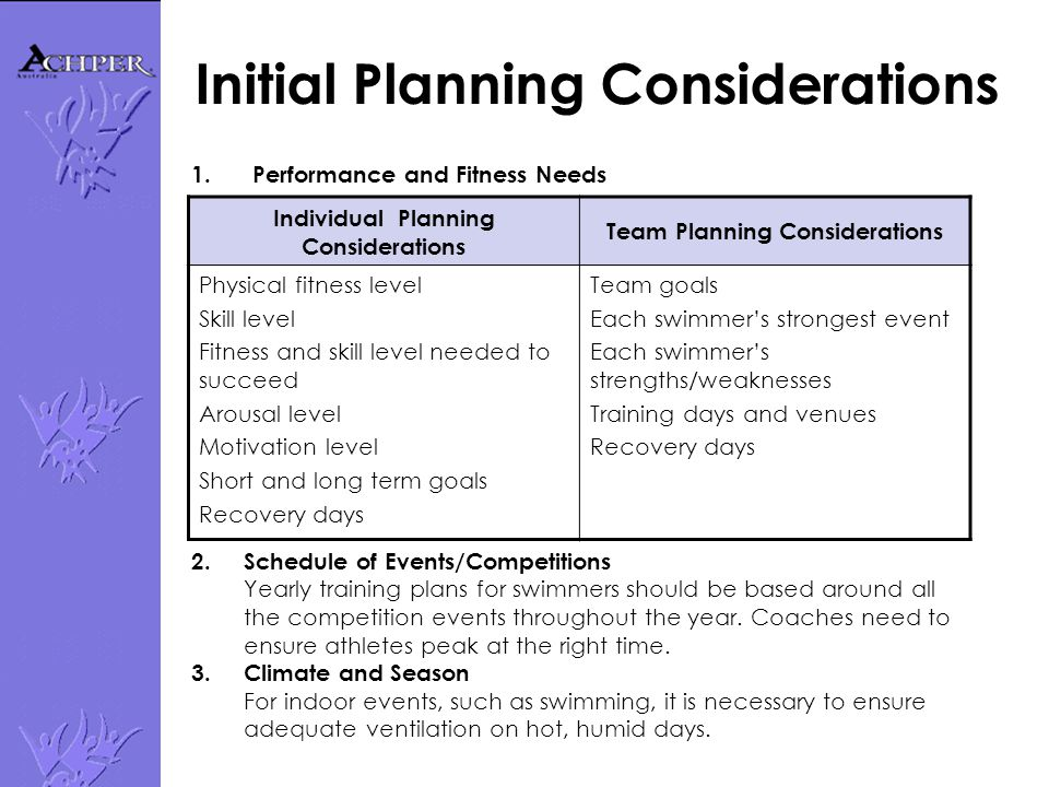 Initial Planning Considerations 1. Performance and Fitness Needs Individual Planning Considerations Team Planning Considerations Physical fitness leve