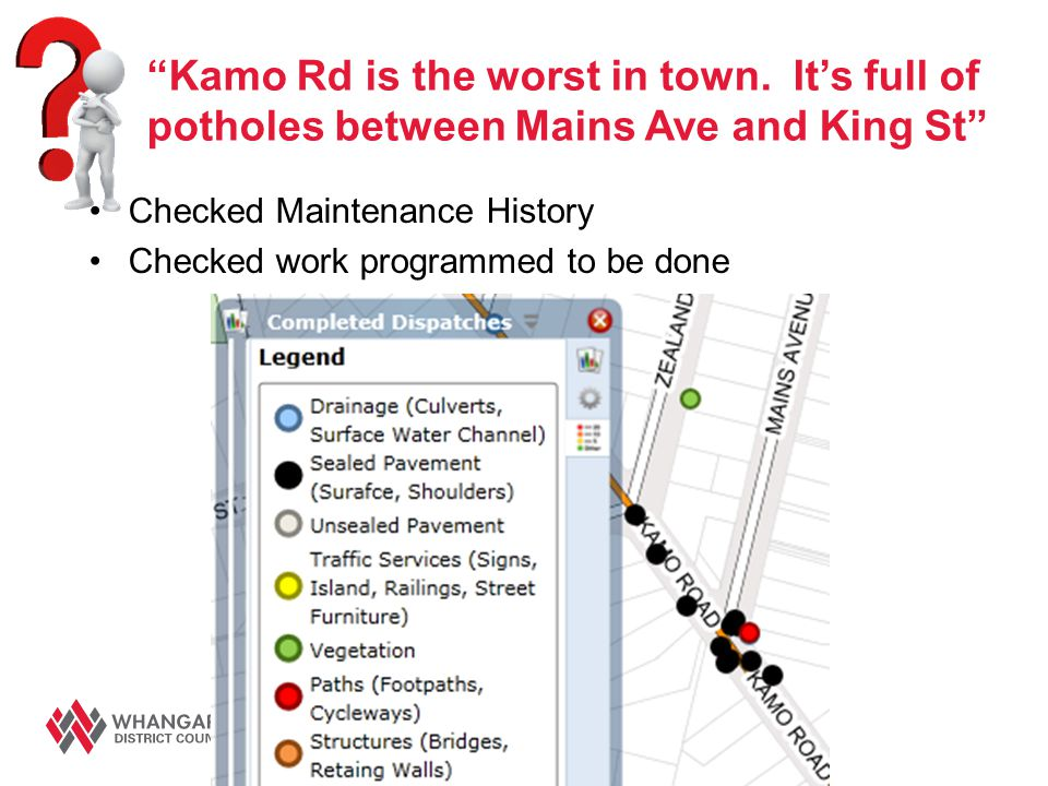 """Kamo Rd is the worst in town. It's full of potholes between Mains Ave and King St"" Checked Maintenance History Checked work programmed to be done"