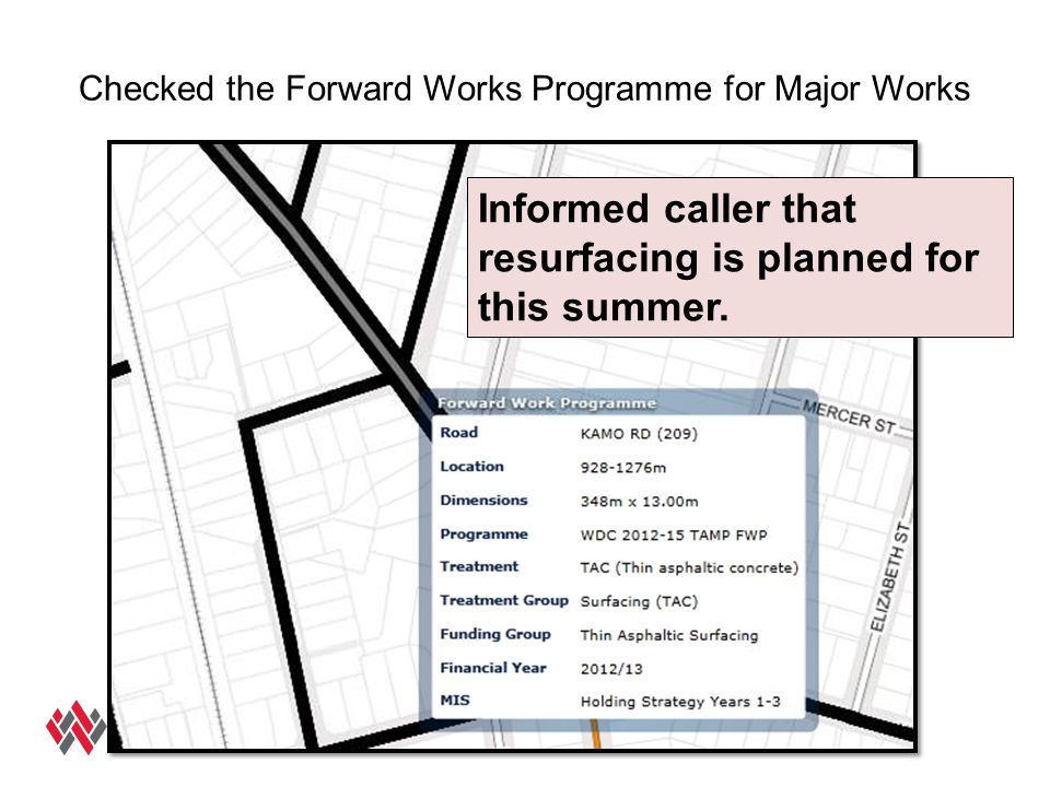Checked the Forward Works Programme for Major Works Informed caller that resurfacing is planned for this summer.
