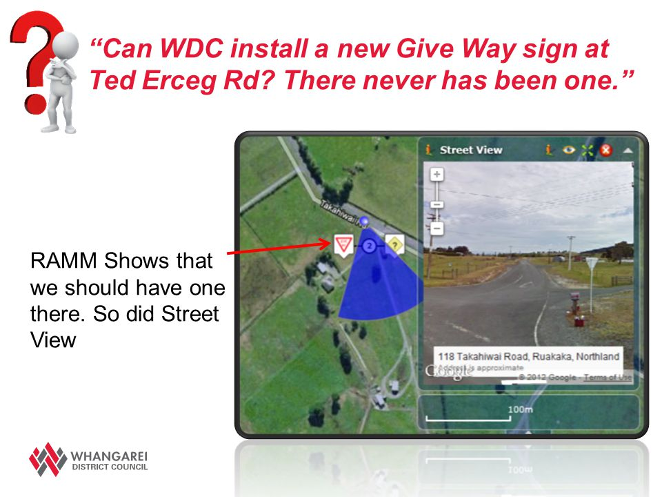 """Can WDC install a new Give Way sign at Ted Erceg Rd? There never has been one."" RAMM Shows that we should have one there. So did Street View"