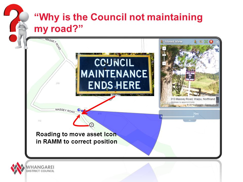 """Why is the Council not maintaining my road?"" Roading to move asset Icon in RAMM to correct position"