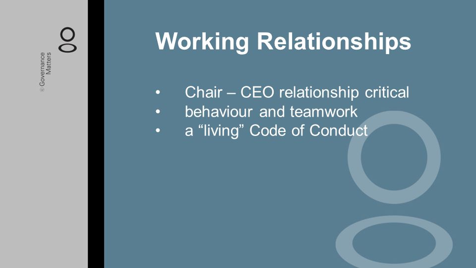 """Chair – CEO relationship critical behaviour and teamwork a """"living"""" Code of Conduct Working Relationships"""
