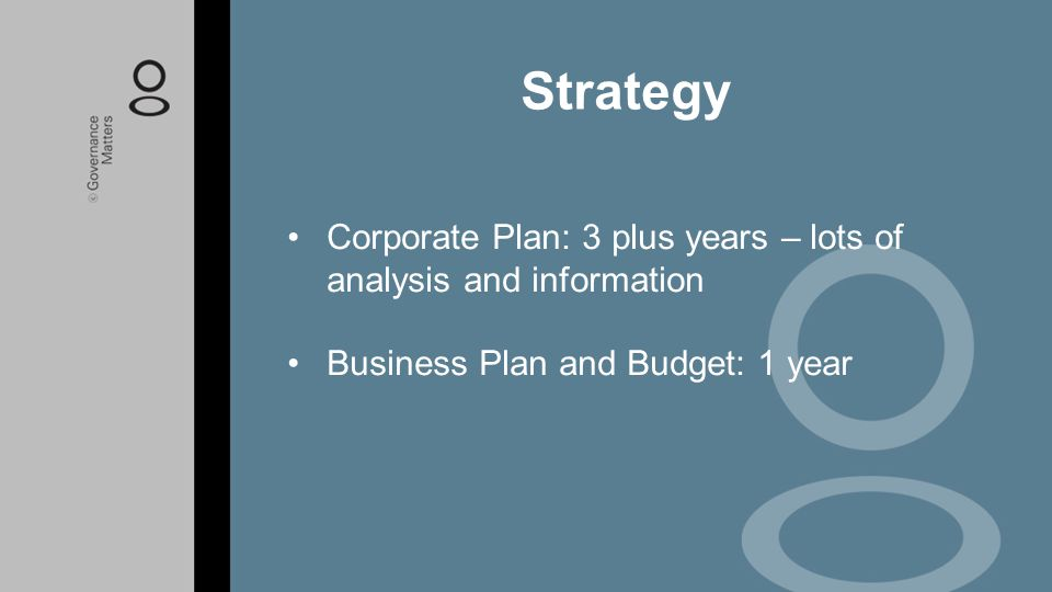 Corporate Plan: 3 plus years – lots of analysis and information Business Plan and Budget: 1 year Strategy
