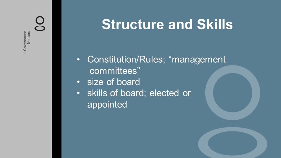 """Constitution/Rules; """"management committees"""" size of board skills of board; elected or appointed Structure and Skills"""