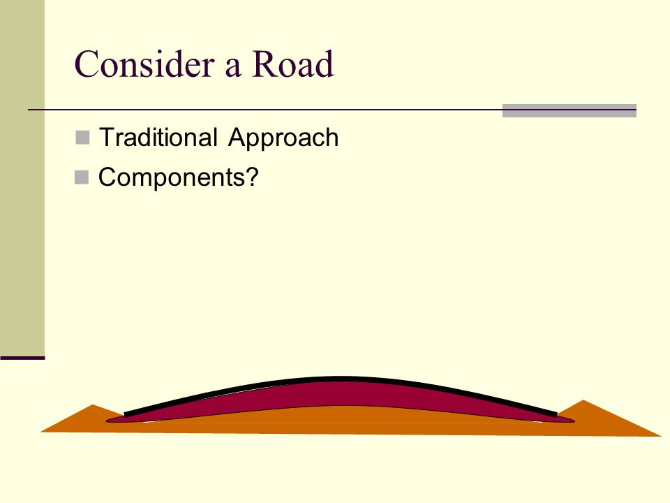 Consider a Road Traditional Approach Components