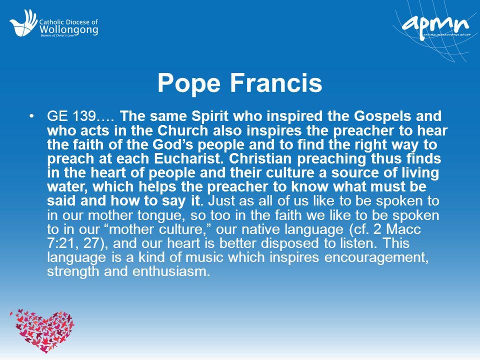 Pope Francis GE 139….