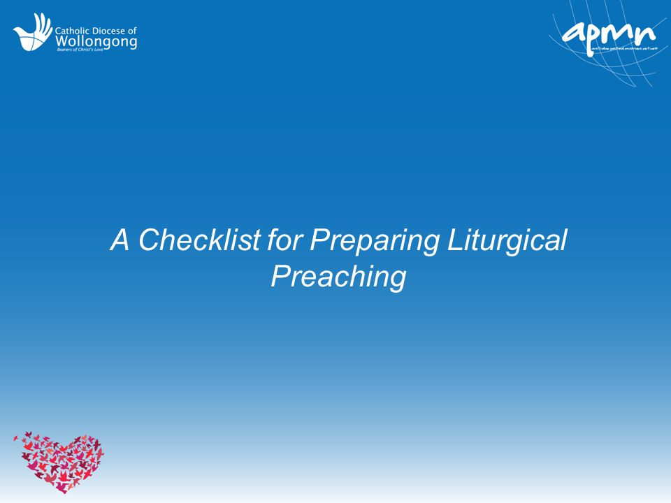 A Checklist for Preparing Liturgical Preaching