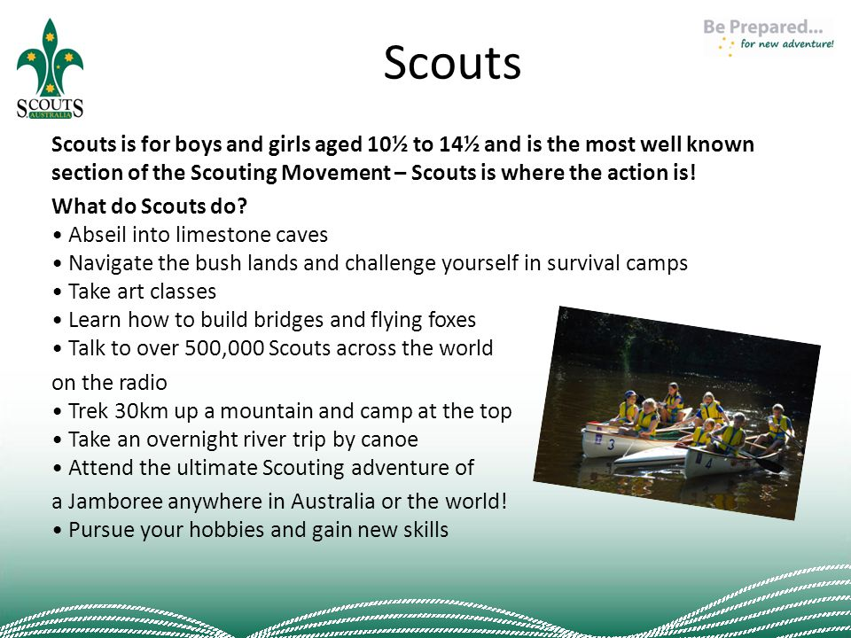 Scouts Scouts is for boys and girls aged 10½ to 14½ and is the most well known section of the Scouting Movement – Scouts is where the action is.