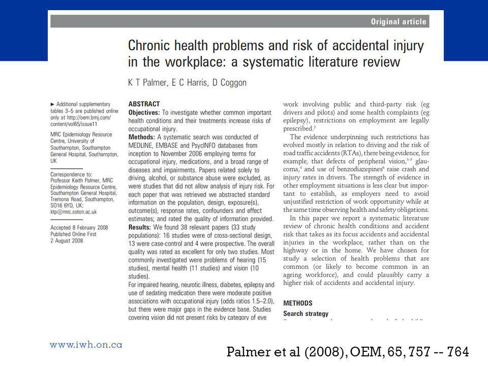 Questions What is the role that chronic conditions and functional declines associated with age play in the risk of work injury.