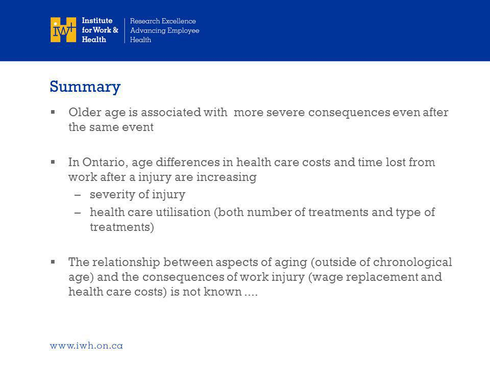 Summary  Older age is associated with more severe consequences even after the same event  In Ontario, age differences in health care costs and time lost from work after a injury are increasing –severity of injury –health care utilisation (both number of treatments and type of treatments)  The relationship between aspects of aging (outside of chronological age) and the consequences of work injury (wage replacement and health care costs) is not known....