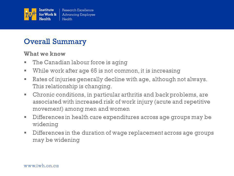 Overall Summary What we know  The Canadian labour force is aging  While work after age 65 is not common, it is increasing  Rates of injuries generally decline with age, although not always.