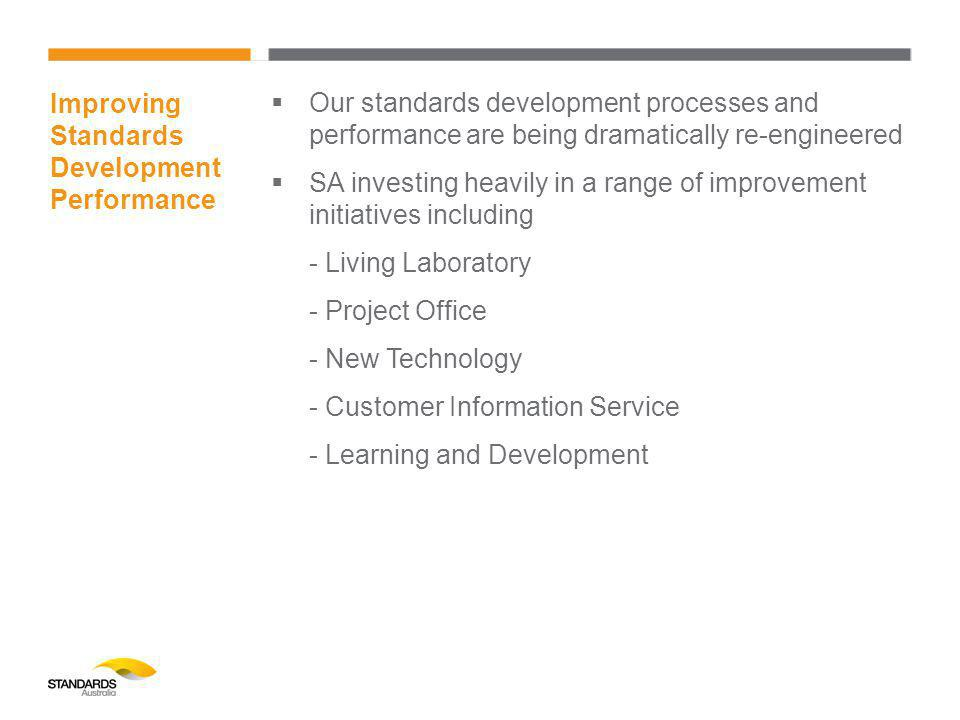 Improving Standards Development Performance  Our standards development processes and performance are being dramatically re-engineered  SA investing heavily in a range of improvement initiatives including - Living Laboratory - Project Office - New Technology - Customer Information Service - Learning and Development