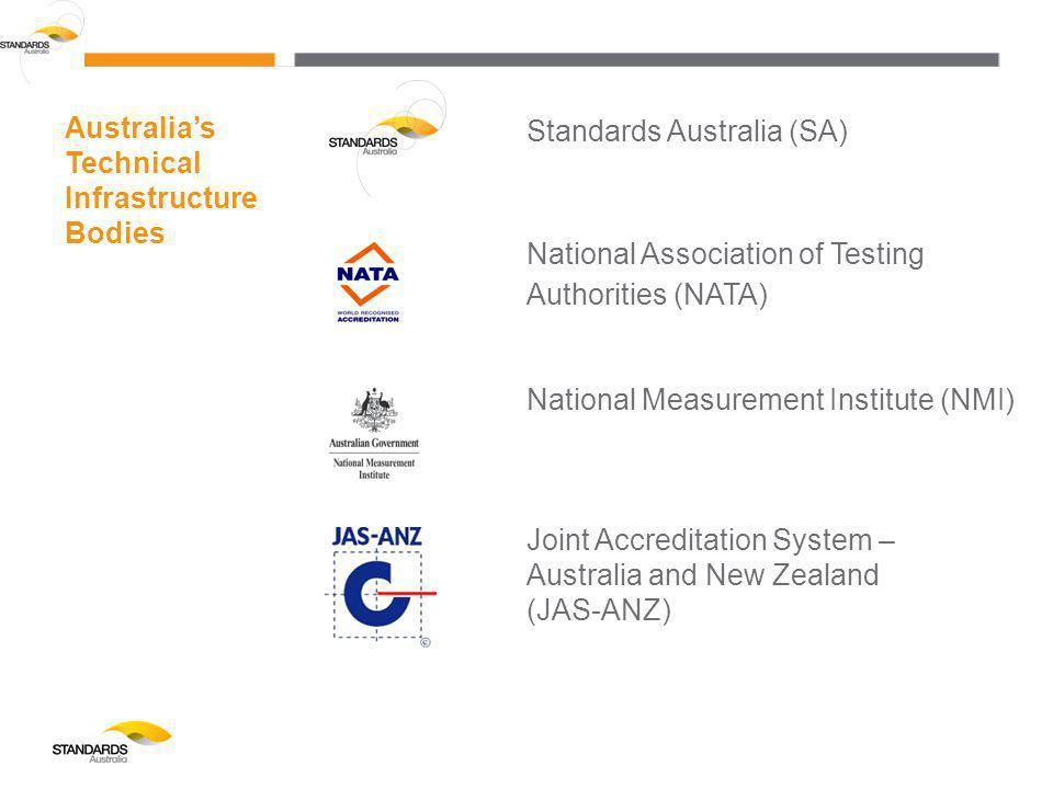 Standards Australia (SA) National Association of Testing Authorities (NATA) National Measurement Institute (NMI) Joint Accreditation System – Australia and New Zealand (JAS-ANZ) Australia's Technical Infrastructure Bodies