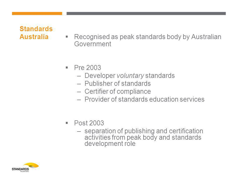  Recognised as peak standards body by Australian Government  Pre 2003 –Developer voluntary standards –Publisher of standards –Certifier of compliance –Provider of standards education services  Post 2003 –separation of publishing and certification activities from peak body and standards development role Standards Australia