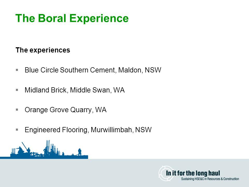 The Boral Experience The experiences  Blue Circle Southern Cement, Maldon, NSW  Midland Brick, Middle Swan, WA  Orange Grove Quarry, WA  Engineere