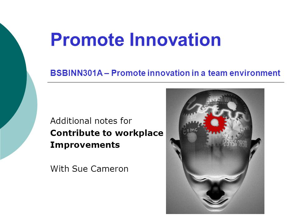 Promote Innovation BSBINN301A – Promote innovation in a team environment Additional notes for Contribute to workplace Improvements With Sue Cameron