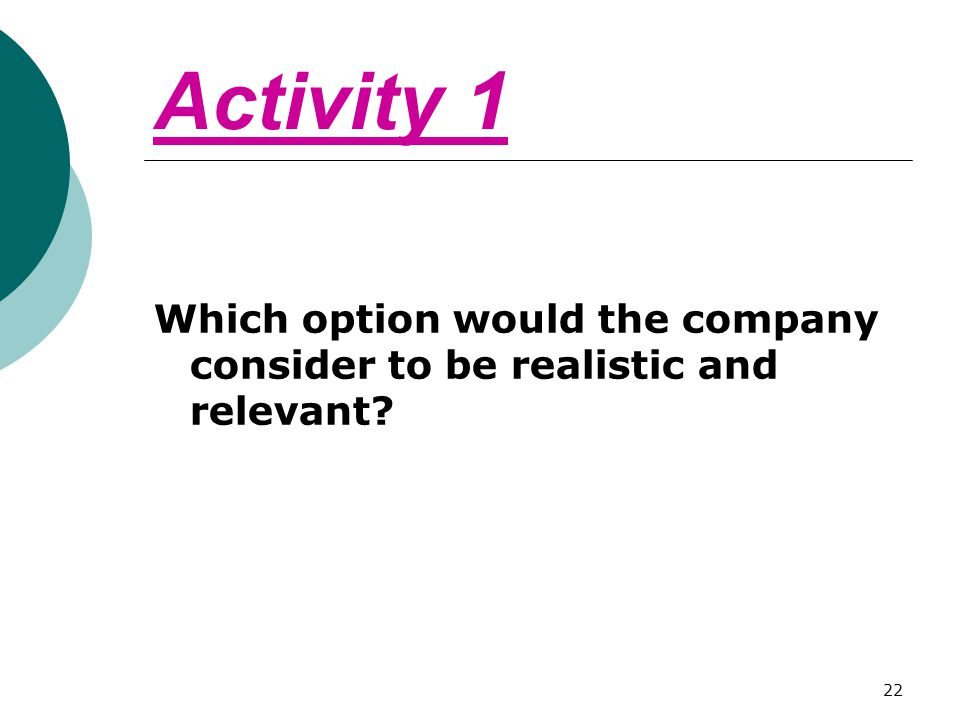 Activity 1 Which option would the company consider to be realistic and relevant? 22