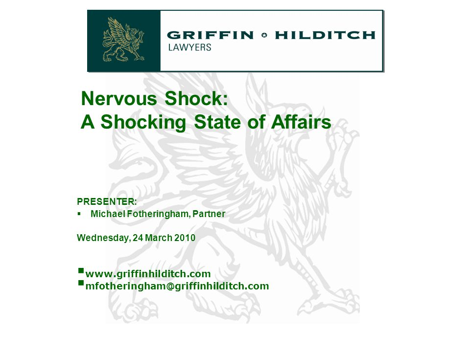 12 Legislation The majority of states and territories have enacted legislation in the area of nervous shock.