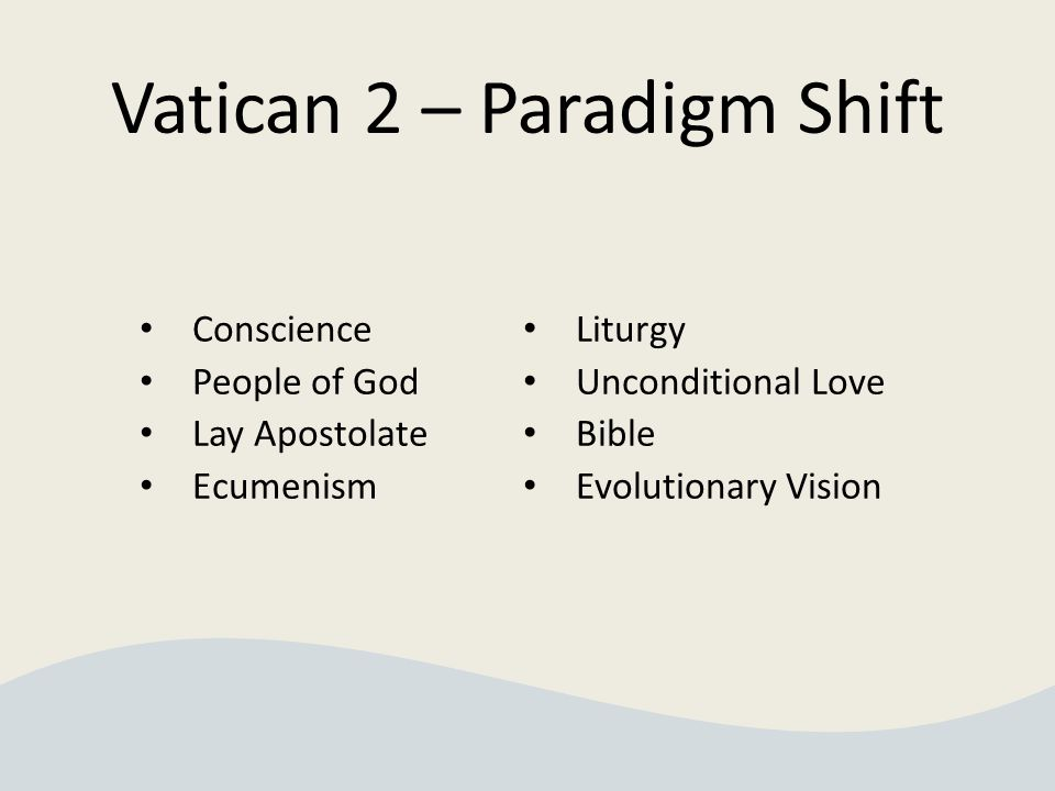 Vatican 2 – Paradigm Shift Conscience People of God Lay Apostolate Ecumenism Liturgy Unconditional Love Bible Evolutionary Vision