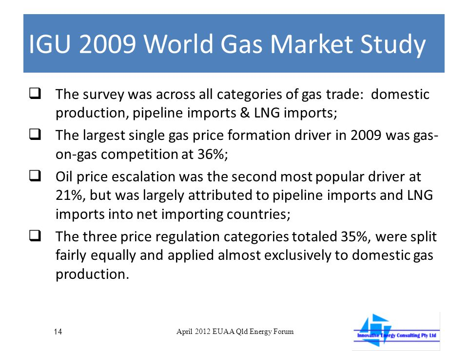 IGU 2009 World Gas Market Study  The survey was across all categories of gas trade: domestic production, pipeline imports & LNG imports;  The largest single gas price formation driver in 2009 was gas- on-gas competition at 36%;  Oil price escalation was the second most popular driver at 21%, but was largely attributed to pipeline imports and LNG imports into net importing countries;  The three price regulation categories totaled 35%, were split fairly equally and applied almost exclusively to domestic gas production.