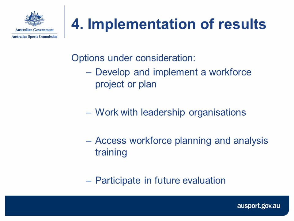 4. Implementation of results Options under consideration: –Develop and implement a workforce project or plan –Work with leadership organisations –Acce