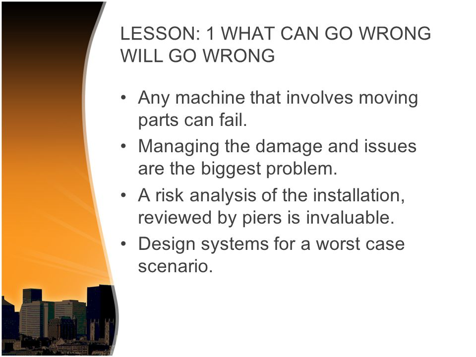 Emergency plan.–When it goes wrong everything will happen at once.