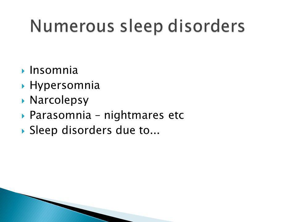  Insomnia  Hypersomnia  Narcolepsy  Parasomnia – nightmares etc  Sleep disorders due to...