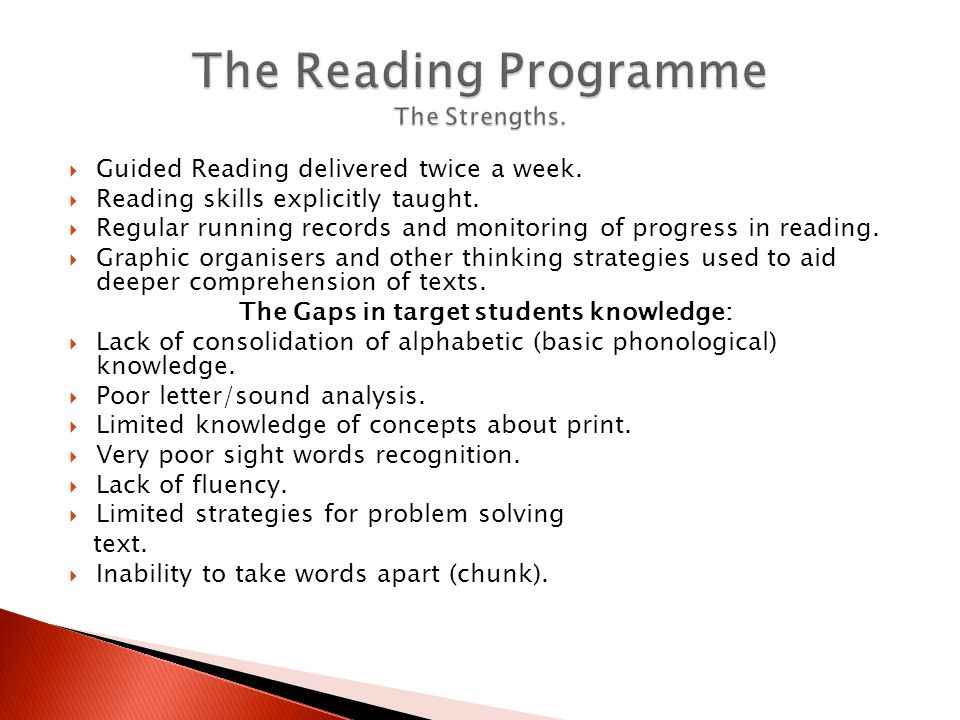  Guided Reading delivered twice a week.  Reading skills explicitly taught.  Regular running records and monitoring of progress in reading.  Graphi