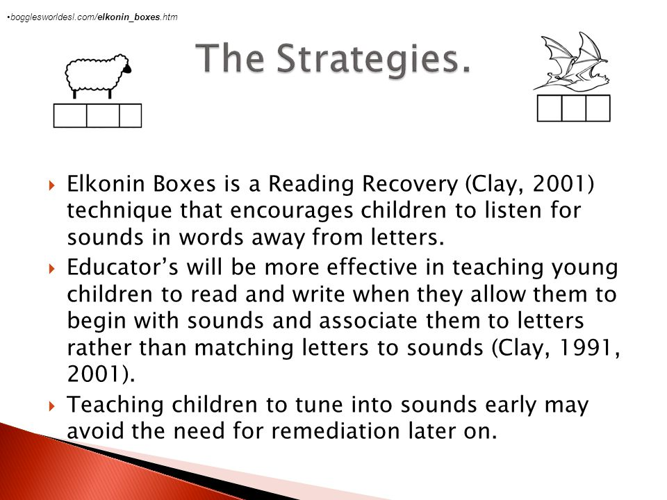  Elkonin  Elkonin Boxes is a Reading Recovery (Clay, 2001) technique that encourages children to listen for sounds in words away from letters.  Edu