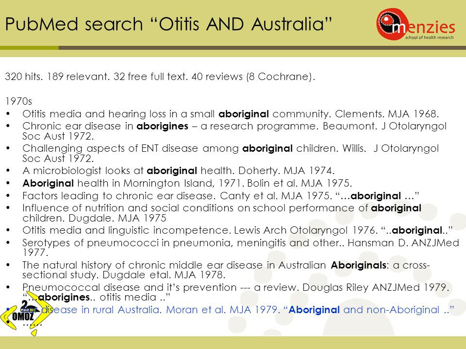 PubMed search Otitis AND Australia 320 hits. 189 relevant.