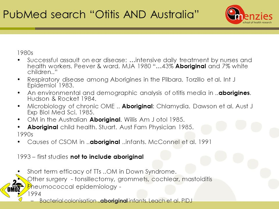 PubMed search Otitis AND Australia 1980s Successful assault on ear disease: …intensive daily treatment by nurses and health workers.