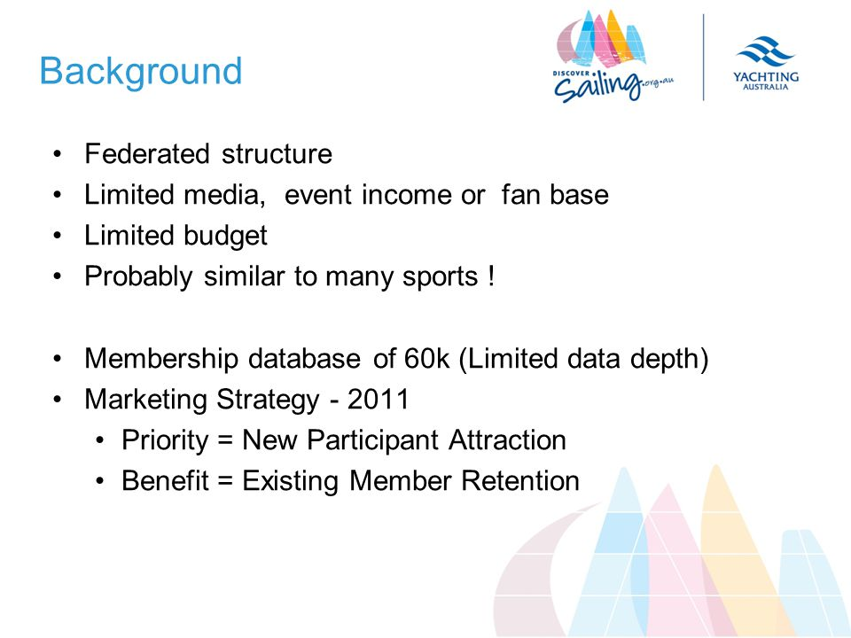 Background Federated structure Limited media, event income or fan base Limited budget Probably similar to many sports .