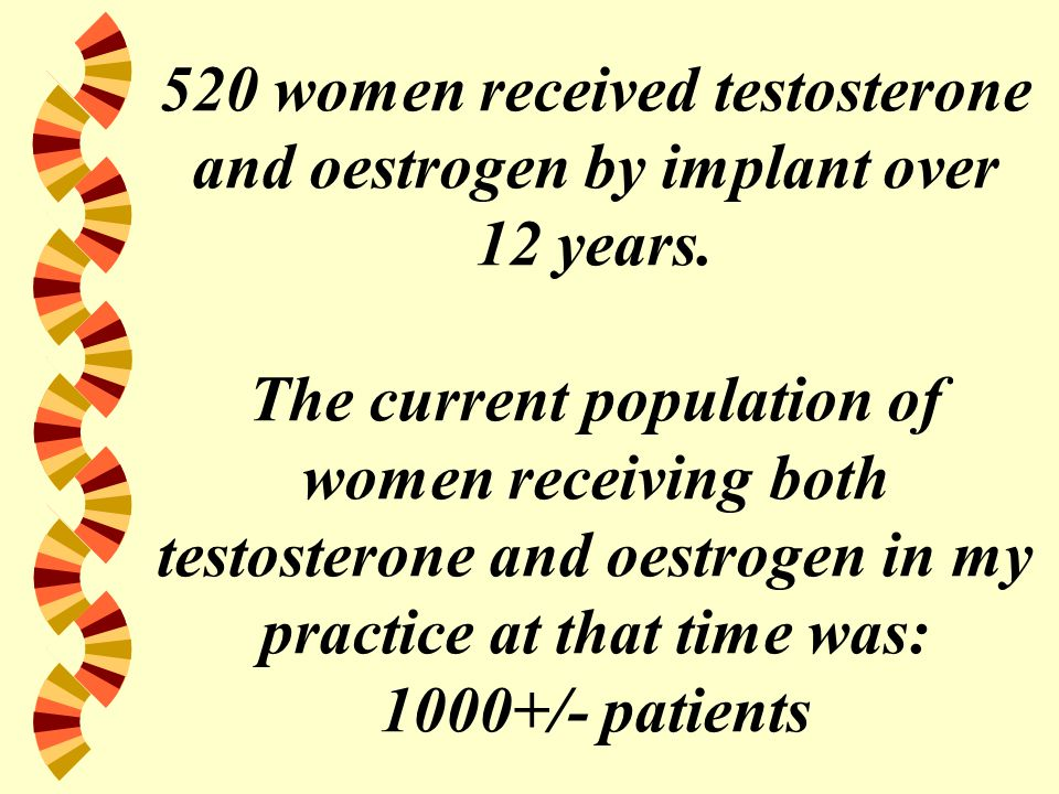 520 women received testosterone and oestrogen by implant over 12 years.