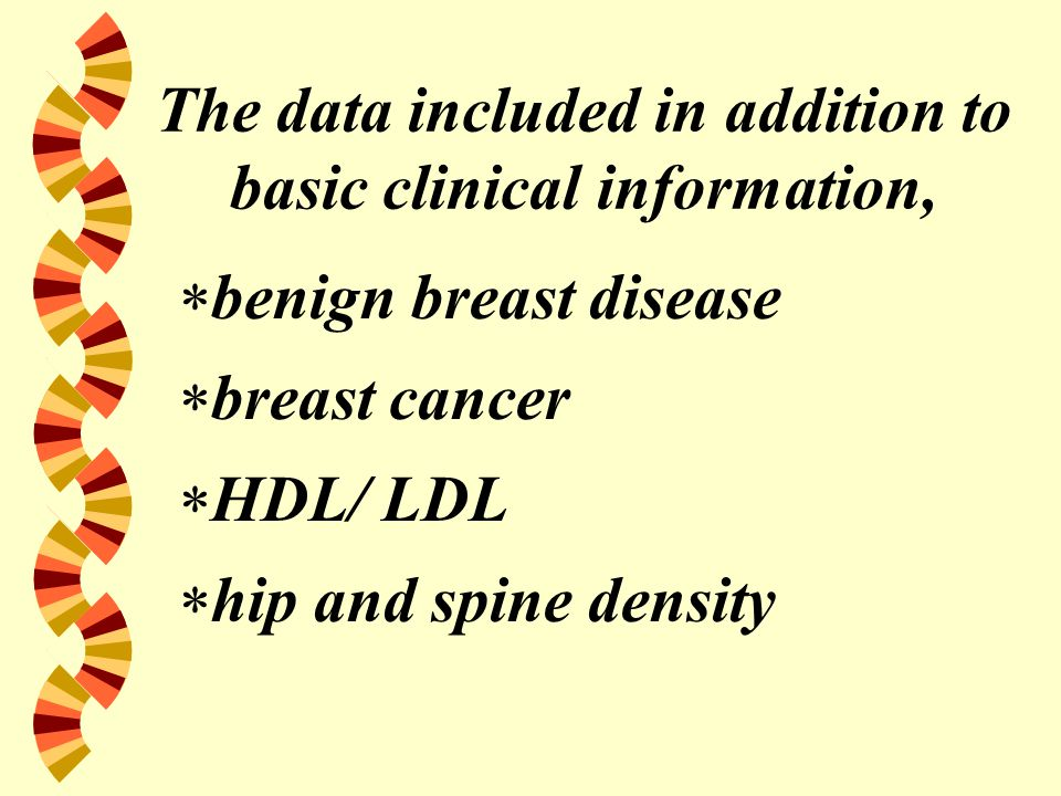 The data included in addition to basic clinical information,  benign breast disease  breast cancer  HDL/ LDL  hip and spine density