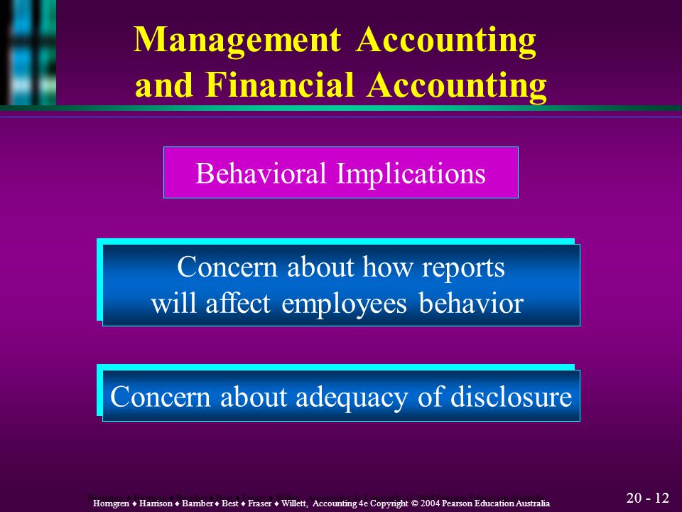 20 - 11 Horngren ♦ Harrison ♦ Bamber ♦ Best ♦ Fraser ♦ Willett, Accounting 4e Copyright © 2004 Pearson Education Australia Management Accounting and F