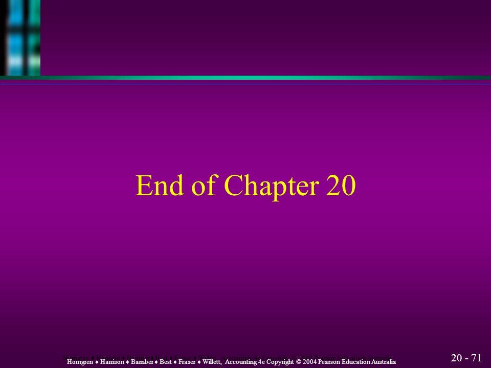 20 - 70 Horngren ♦ Harrison ♦ Bamber ♦ Best ♦ Fraser ♦ Willett, Accounting 4e Copyright © 2004 Pearson Education Australia Budgeting and Sensitivity A