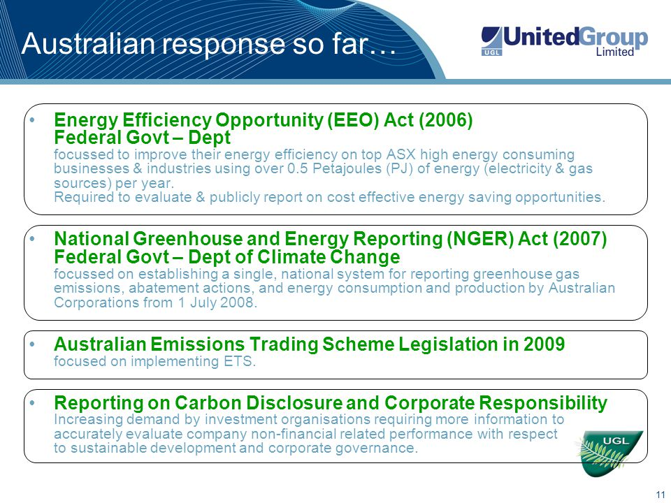 11 Australian response so far… Energy Efficiency Opportunity (EEO) Act (2006) Federal Govt – Dept focussed to improve their energy efficiency on top ASX high energy consuming businesses & industries using over 0.5 Petajoules (PJ) of energy (electricity & gas sources) per year.