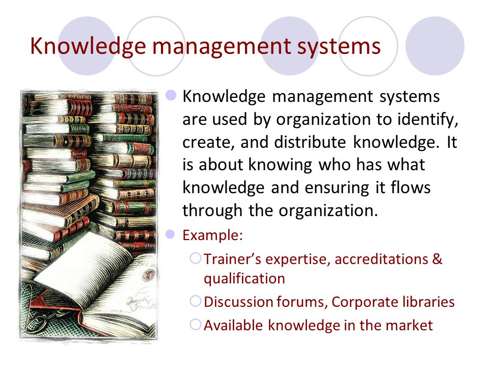 Knowledge management systems Knowledge management systems are used by organization to identify, create, and distribute knowledge. It is about knowing