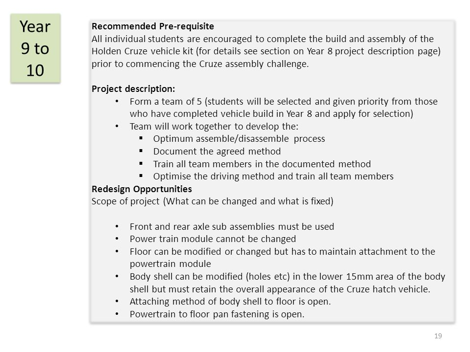 Recommended Pre-requisite All individual students are encouraged to complete the build and assembly of the Holden Cruze vehicle kit (for details see section on Year 8 project description page) prior to commencing the Cruze assembly challenge.