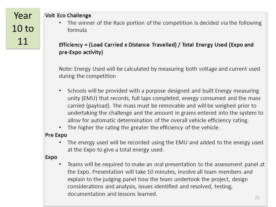 Volt Eco Challenge The winner of the Race portion of the competition is decided via the following formula Efficiency = (Load Carried x Distance Travel