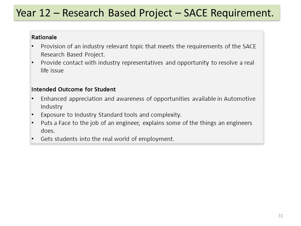 Rationale Provision of an industry relevant topic that meets the requirements of the SACE Research Based Project.
