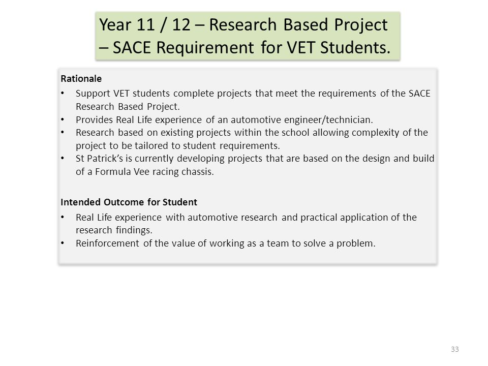 Year 11 / 12 – Research Based Project – SACE Requirement for VET Students.