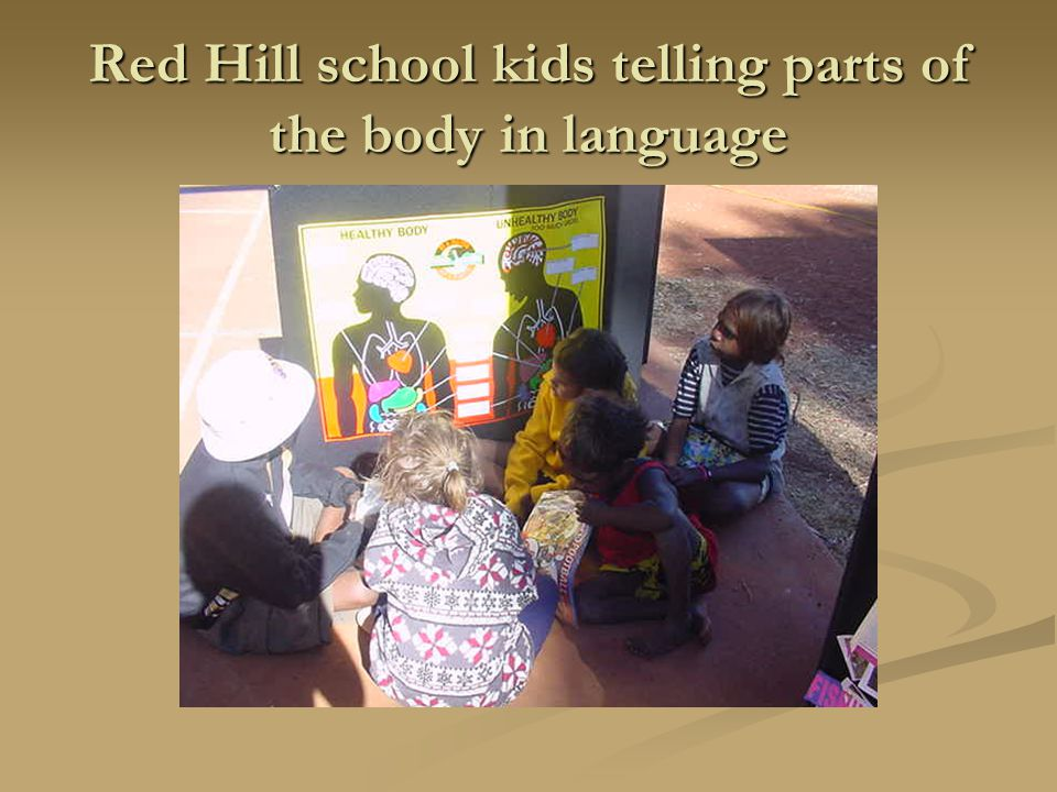 Red Hill school kids telling parts of the body in language