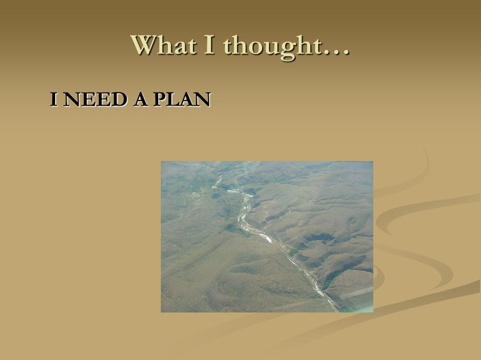 What I thought… I NEED A PLAN