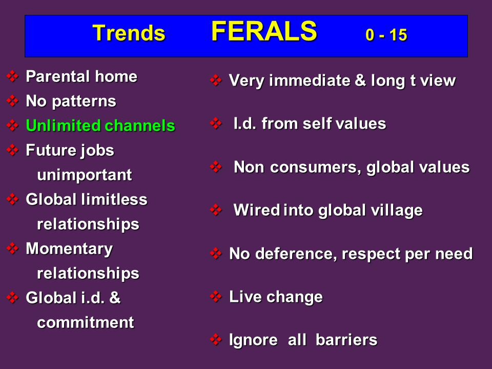 Trends FERALS 0 - 15 Trends FERALS 0 - 15  Parental home  No patterns  Unlimited channels  Future jobs unimportant unimportant  Global limitless relationships relationships  Momentary relationships relationships  Global i.d.