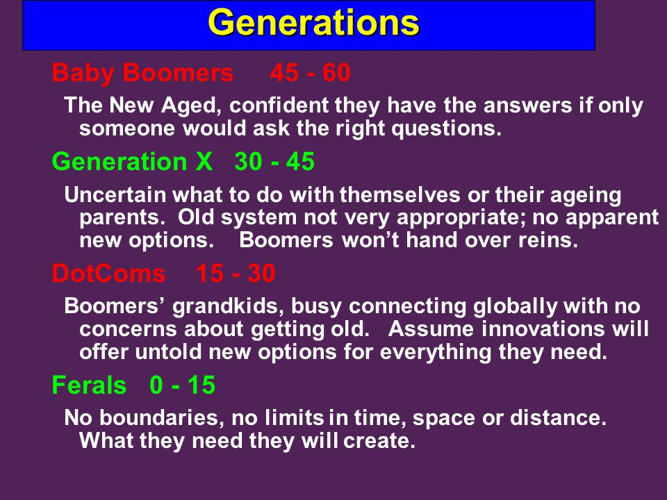 Generations Generations Baby Boomers 45 - 60 The New Aged, confident they have the answers if only someone would ask the right questions.